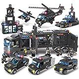 パトカー ブロックおもちゃ 警察車両 6歳男の子 ミニカーセット ヘリコプター 子供おもちゃ 誕生日プレゼント 知育玩具 模型飛行機 人気の男の子おもちゃ (1102pcs)