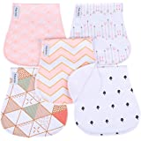 Baby Burp Cloths for Girls 5 Pack Burp Cloths Towel Burping Rags for Babies Newborns Baby Shower 100% Super Absorbent Organic