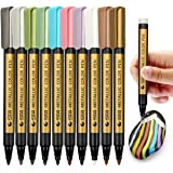 Fine Metallic Markers Paint Pen - Set of 10 Colours, Permanent Glitter Pens for Black Paper, Painting Rocks, Glass Glitter Pa
