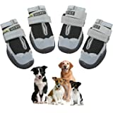 Ufanore Dog Boots, Breathable Dog Shoes with Reflective Strip and Adjustable Strap Rugged Anti-Slip Sole Dog Shoes 4 Pcs (Siz