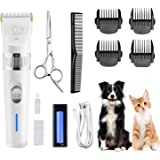 Dog Clippers,Low Noise Pet Clippers with Detachable Blades,Rimposky Rechargeable Dog Trimmer Pet Grooming Kit with USB Cable,