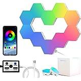 LED Hexagon Lights, RGB Hexagon Lights for Wall, Smart, Modular, Music Sync, App Controlled LED Lights, for Gaming Room Decor