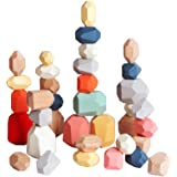 36 PCs Wooden Sorting Stacking Balancing Stone Rocks Educational Preschool Learning Toys Large Small Building Blocks Game Sto