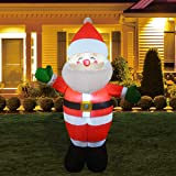GOOSH 5Foot High Christmas Inflatable Blow up Green Hand Santa Yard Decoration, Indoor Outdoor Garden Christmas Decorations.