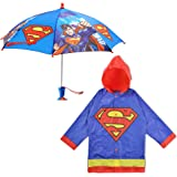 DC Comics Little Boys Batman or Superman Slicker and Umbrella Rainwear Set, Grey Batman