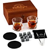 Whisky Stones & Glasses Gift Set, 2 Whisky Glasses in Premium Wooden Box, 8 Granite Wine Stones with Stainless Steel Tongs &