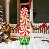 """MorTime 44"""" Christmas Lollipop Garden Stake Decoration, Lollipop Candy Themed Outdoor Christmas Pathway Decor, Peppermint Yar"""