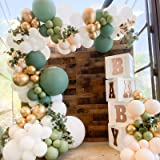 Oopat DIY Olive Sage White Gold Balloon Arch Garland Kit for Sage Party Boho Bridal Shower Baby Shower Wedding Birthday Eucal