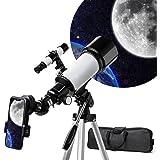 天体望遠鏡 てんたいぼうえんきょう ぼうえんきょう 望遠鏡 天体観測 初心者 子供 屈折式 70mm大口径400mm焦点距離 天体観測 星座 スマホ撮影 正立天頂プリズム 軽量 伸縮式三脚 トレイ アダプターを付き