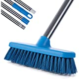 MEIBEI Floor Scrub Brush with Handle-47.3 Bristle Brush Tile Brush Adjustable Stainless Steel Handle for Cleaning BathroomKit