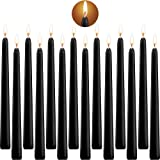 Tonsooze Black Taper Candles, 14 pcs Unscented Candles, 10 inch High, 3/4 inch Thick - 7.5 Hours Burning (Black)
