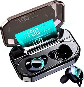 【最新Bluetooth5.0+EDR搭載 LEDディスプレイ】 Bluetooth イヤホン Hi-Fi 高音質 AAC対応 ステレオサウンド ワイヤレスイヤホン 電池残量 インジケーター付き 完全ワイヤレス イヤホン 5000mAh超大容量 150時間連続駆動 自動ペアリング 両耳 左右分離型 CVC8.0ノイズキャンセリング タッチ式 ブルートゥース イヤホン IPX7防水 Siri対応 落下防止 マイク内蔵 技適認証済 iPhone/iPad/Android適用 (ブラック)