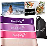 Bondi Booty Bands Resistance Bands for Legs and Butt - 4x Thick Exercise Bands Resistance Band Set with Transformation Plan.
