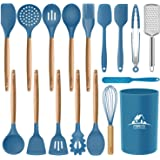 Mibote 17 Pcs Silicone Cooking Kitchen Utensils Set with Holder, Wooden Handles BPA Free Non Toxic Silicone Turner Tongs Spat