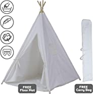 InnFinest Teepee Tent For Kids Foldable - Indoor Tipi Play Tents Playhouse Reading Nook - 4 Poles Cotton Canvas, Mat, Mesh Wi