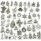 Christmas Charms, JIALEEY Wholesale Bulk Lots Christmas Charm Mixed Tibetan Silver Metal Beads Pendants DIY for Necklace Brac
