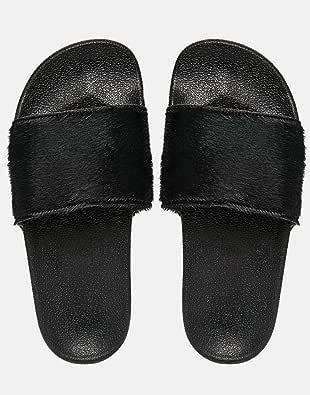 [アディダスオリジナルス] adidas Originals オリジナルス アディレッタ Faux ADILETTELUXW レザー フットベッド サンダル 黒 コアブラック [並行輸入品]