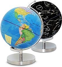 地球儀 回転型地球儀 星座図 世界地図 不思議な地球儀 23cm 球体点灯 インテリア 英語表記 置物 球体 惑星  勉強用品 学校 オフィス 地理 社会教材