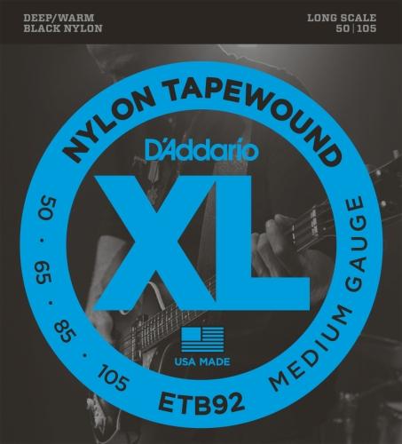 D'Addario ダダリオ ベース弦 ブラックナイロンワウンド Long .050-.105 ETB92 【国内正規品】