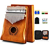 Kalimba Thumb Piano 17 Keys, Portable Mbira Finger Piano w/Protective Case, Fast to Learn Songbook, Tuning Hammer, All in One
