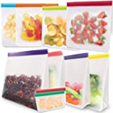 Reusable Food Storage Freezer Bags 10 Pack, Extra Thick LEAKPROOF Eco-Friendly Ziplock Gallon Lunch Bags for Marinate Food &