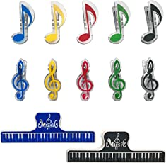 カラフル ミュージックブッククリップ クリップ音符 ト音 記号 鍵盤 音楽用紙 メモ クリップ 書類整理 プラスチック製 12個入り