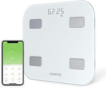 【令和第2世代 USB充電式 Bluetooth対応】体重計 体脂肪・体組成計 EnacFire 乗るだけで電源ON 体重/体脂肪率/体水分率/推定骨量/基礎代謝量/BMI/など簡単測定・同期 iOS/Androidアプリで 健康管理・肥満予防・体重管理 日本語取扱説明書付き ヘルスケア・Fitbit・Google Fitと連携(ホワイト)