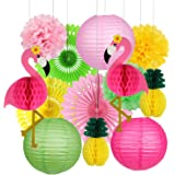 Flamingo Party Supplies, Hawaiian Party Decorations Flamingo and Pineapple Honeycomb Ball Paper Lanterns Paper Fans Pom poms