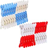 Foshine Clothes Pins for Crafts 48 Pack Clothes Clips Drying Clothing Clips Colored Laundry Clips Clothespins Plastic Pegs Wi
