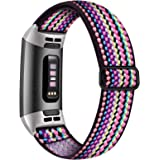 Witzon Adjustable Elastic Bands Compatible with Fitbit Charge 4 / Charge 3 / 3SE Bands, Breathable Loop Fabric Pattern Replac