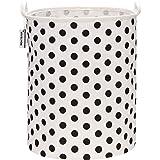"Sea Team 19.7"" Large Sized Waterproof Coating Ramie Cotton Fabric Folding Laundry Hamper Bucket Cylindric Burlap Canvas Stora"