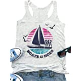 Susongeth Boats and Hoes Tank Tops Women Funny Sailboat Graphic Sleeveless T-Shirt Casual Letter Print Vacation Vest Tees