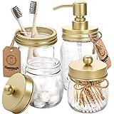 AOZITA Mason Jar Bathroom Accessories Set 4 Pcs - Mason Jar Soap Dispenser & 2 Apothecary Jars & Toothbrush Holder - Rustic F