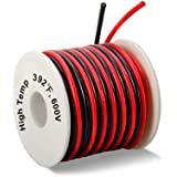 16 Gauge Silicone Wire 50 Feet [25 ft Black and 25 ft Red] - Ultra Soft and Flexible/High Temperature Resistant - 600V 16 AWG