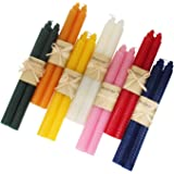 Karma Delights 7 Pair 100% Pure Beeswax Handmade Taper Candles, 9 Inch Smokeless Dripless Wax Candles, Beeswax Candle for Hom