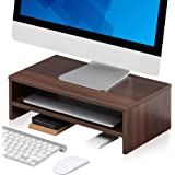 FITUEYES Wooden Monitor Riser Computer Laptop Stand with Storage Shelf, Space Saving Desk for Home Office and School Use, 42.