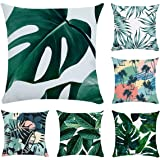 XIECCX Throw Pillow Covers Decorative Pillowcases Summer Green Banana Leaves Spring New Life 6 Set-Soft Linen Cotton Design S