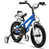 RoyalBaby Kids Bike Boys Girls Freestyle Bicycle 12 14 16 Inch with Training Wheels, 16 18 20 with Kickstand Child's Bike, Bl