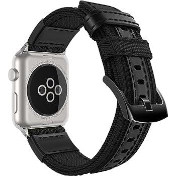Apple Watch バンド - ATiC Apple Watch 38mm 40mm Series 4/3/2/1用 キャンバス+革製腕時計ストラップ/バンド 交換ベルト+バンドアダプター/交換ラグ Black (42mm 44mmに対応ない)