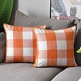 WLNUI Orange Buffalo Plaid Pillow Covers 20x20 Inch Set of 2 Retro Farmhouse Rustic Check Throw Pillow Covers Square Cushion