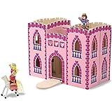 Melissa & Doug Fold & Go Princess Play Castle (Portable Wooden Dollhouse, 4 Play Figures, 4 Furniturepiece, Frustration-Free