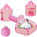 3 pcs Kids Ball Pit Tent and Tunnels,Pop up Tents for Kids Indoor Outdoor Ball Pit for Toddlers with Tunnel Baby Beach Tent S