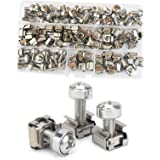 Cage Nut and Mounting Screw Bolts Washers Metric Square Hole Hardware for Rack Mount Server Shelves Cabinets Assortment Kit M