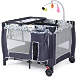 All in 1 Baby Playard, Convertible Playpen with Bassinet, Changing Table, Foldable Travel Cot with Music Box, Whirling Toys,