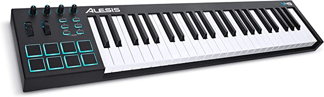 Alesis V49 | 49-Key USB MIDI Keyboard Controller with 8 Backlit Pads, 4 Assignable Knobs and Buttons, Plus a...