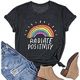 EGELEXY Radiate Positivity Rainbow T-Shirt Women Cute Funny Rainbow Graphic Tee Teen Girls Casual Short Sleeve Shirt Tops