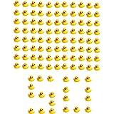 SOHAPY 50Pcs Mini Yellow Rubber Ducks Baby Shower Rubber Ducks, Squeak Fun Baby Yellow Rubber Bath Toy Float Fun Decorations
