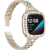 Mocodi Band with Case Compatible for Fitbit Sense/Versa 3, Bling Women Girl Dressy Crystal Band with Shiny Protective Bling B