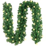 10Ft Christmas Garland with 50 LED Lights - Battery Powered Waterproof String Light with Timer - Pre-lit Outdoor Xmas Garland