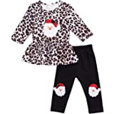 Christmas Toddler Girl Outfits Santa Claus Leopard Long Sleeve Top Pants Toddler Girl Christmas Clothes Set 1-5T